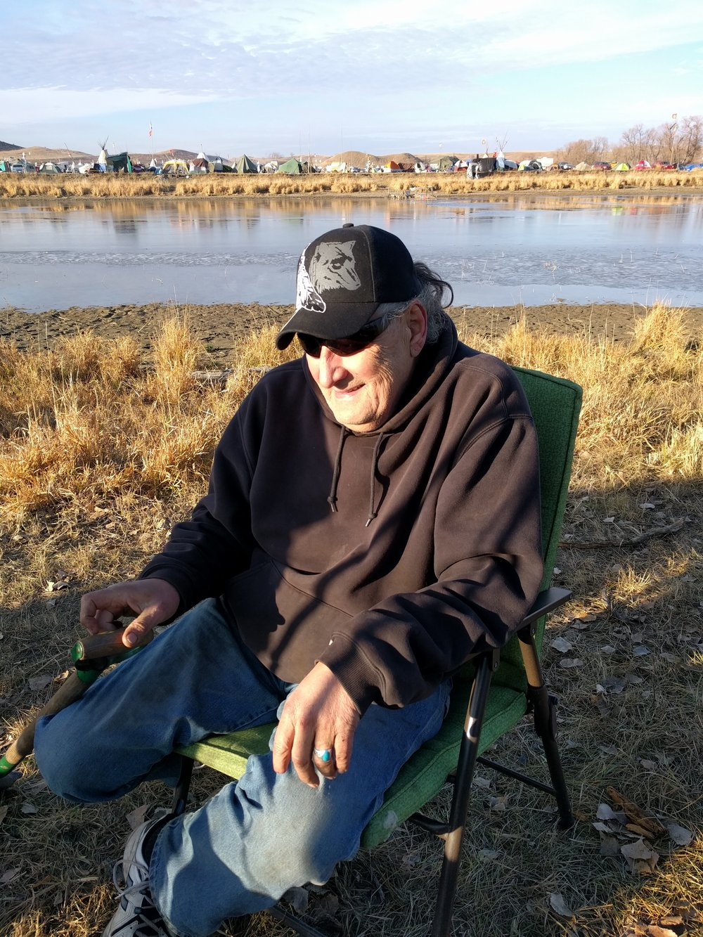 Dennis at camp in Standing Rock