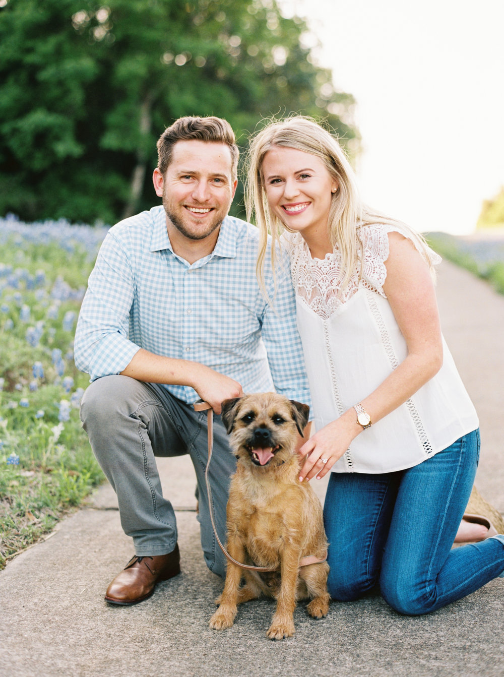 Summer engagement session with a puppy