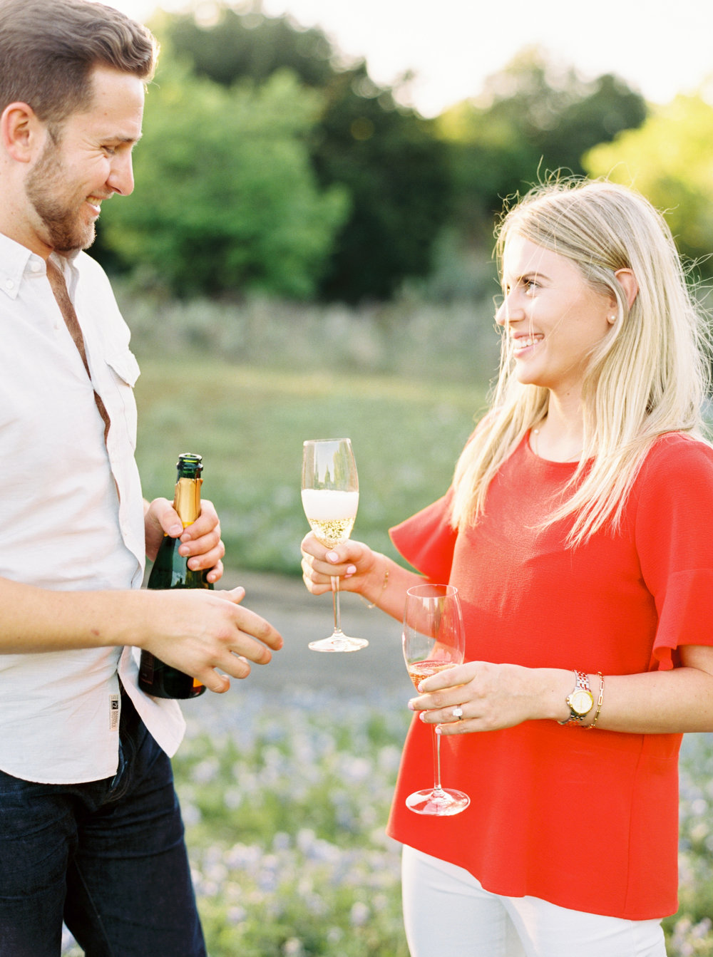 engagement pictures with champagne