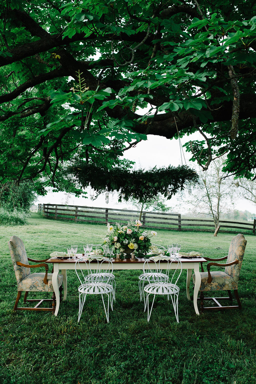 The tapestry chairs are from my mother and the garden chairs were on loan from Hip and Humble in Berryville.  Photo:  Norman Photo and Paper.