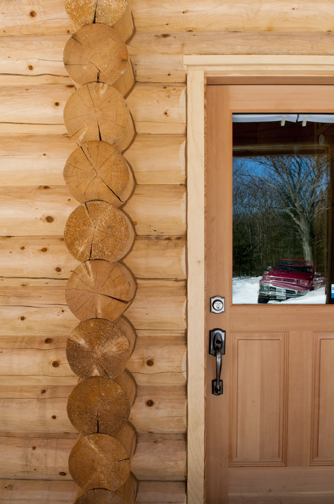 Front door with log details