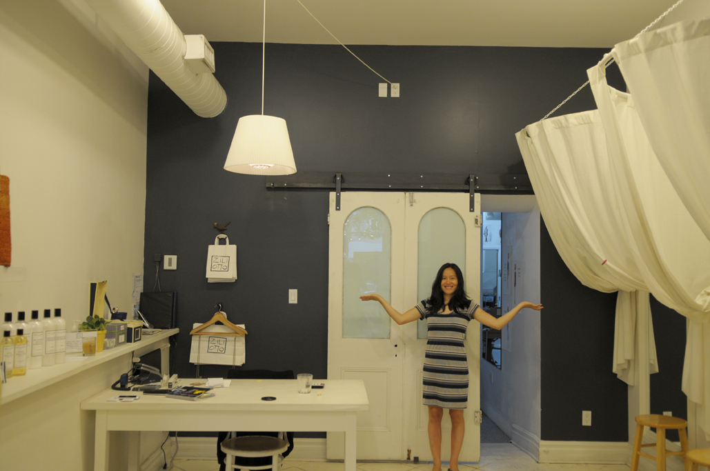 Queen West.  And of course, that's me showing off the dress and the finished installation of the hardware.  This is one of my favourite dresses from Ziliotto, so comfortable and fun!