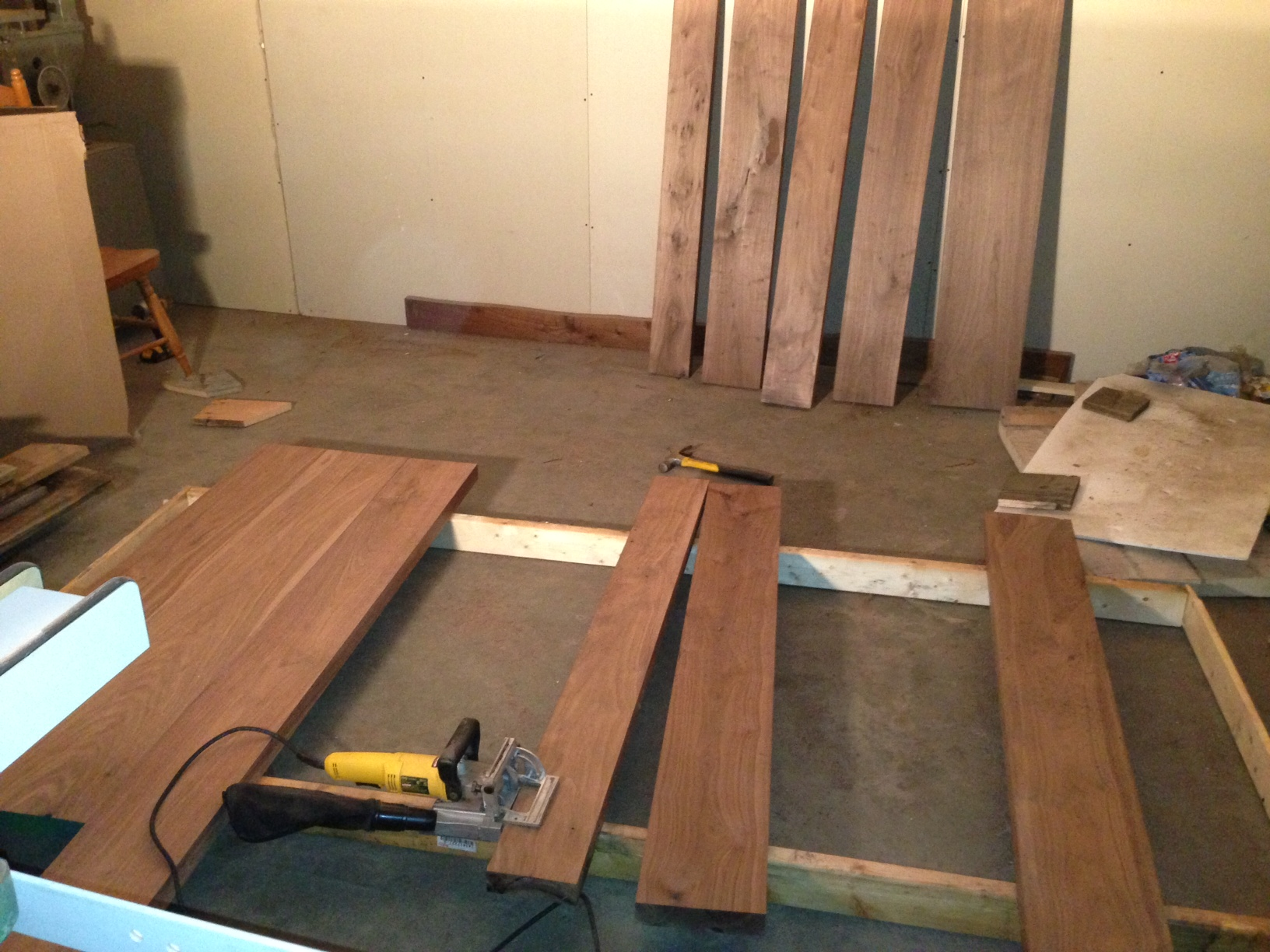 Walnut door in the making.