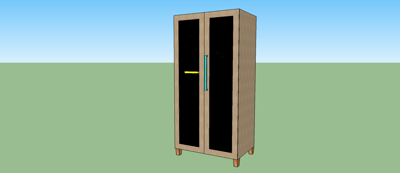We drew this 3D design before making it, and the only difference between this and the real thing is the colour of the handles, the vertical is yellow in real life and blue in the drawing!