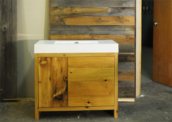 "This 40"" wide vanity is made of reclaimed hemlock.  Even though the wood had been milled down to give the vanity straight lines, the character of the old wood is still shines through."