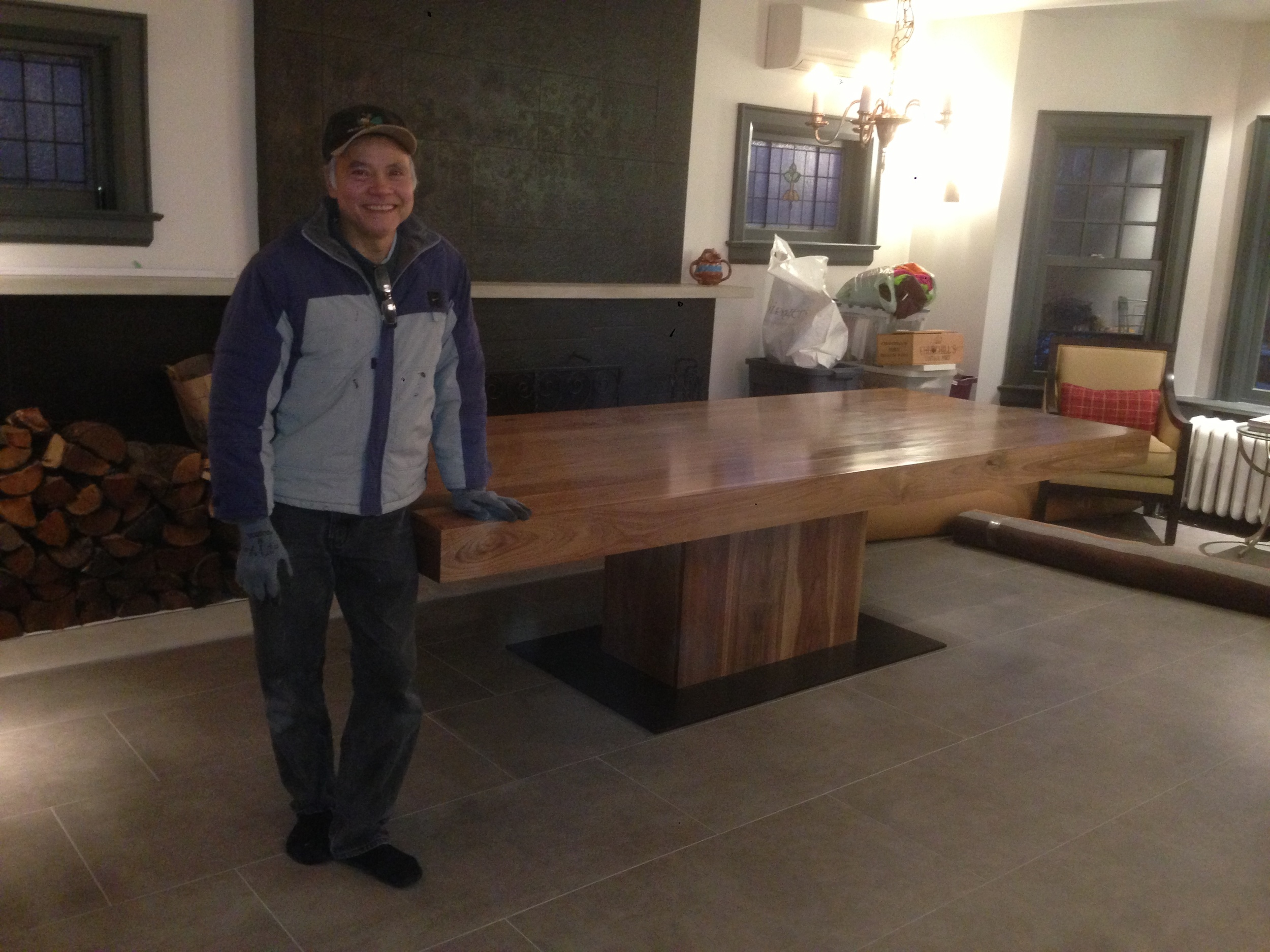 My father in-law standing proud since he and Rock built this table together!  Rock has to step aside and share the fame.