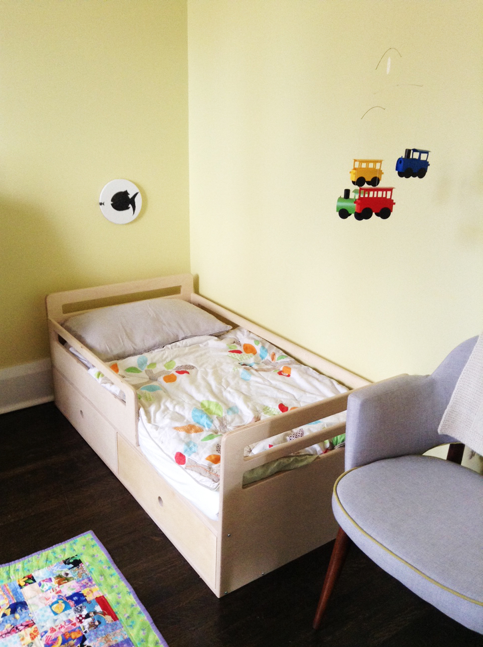It was this bed that made our two year old transit over from the crib.  Cute, isn't?
