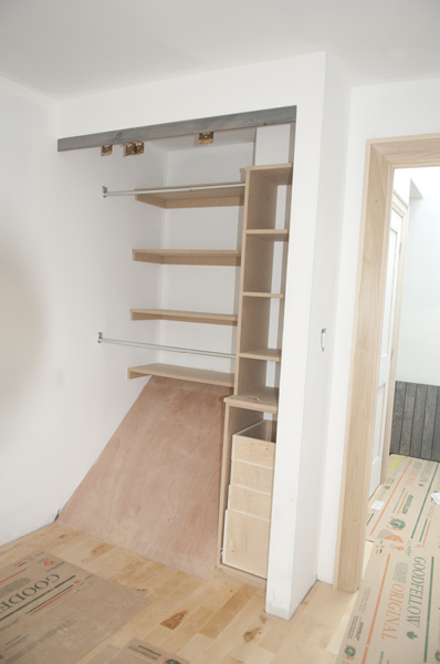 The closet before the doors are installed.