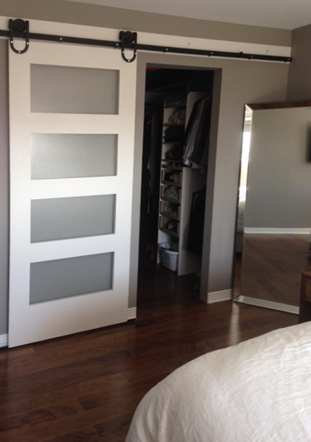 In the master bedroom, the barn door is for the walk-in closet. Again on the horseshoe