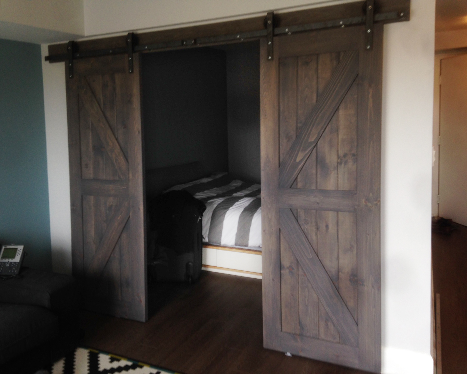 Our clients have really nice sense of style with striped sheet pattern which goes so well with these panel barn doors.