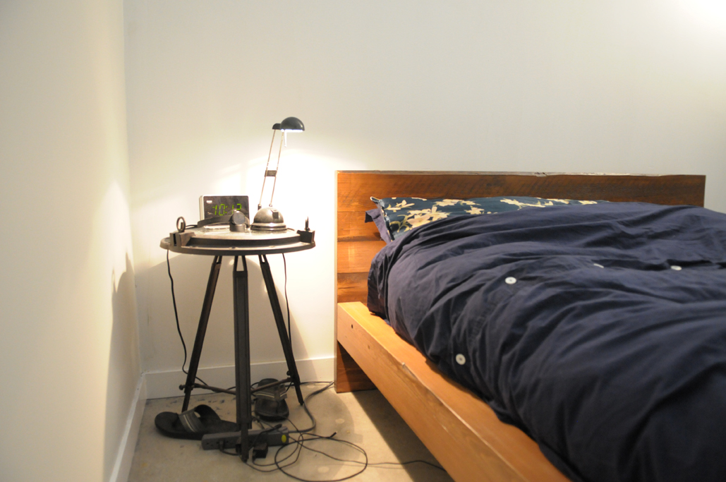 "Notice the headboard goes all the way to the floor and acts as the ""leg"" also. This way, the bed is sturdy and it feels great to know you have one solid piece of wood as your headboard when you sleep...you're well protect---Fung Shui says."