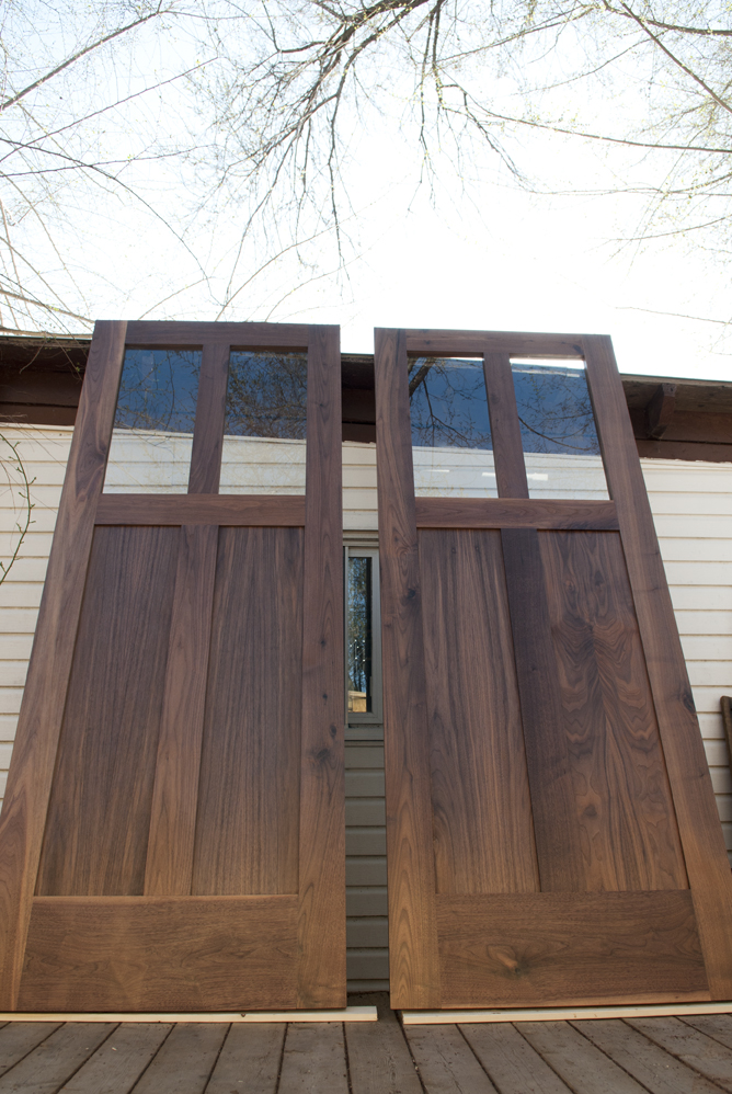 Walnut panel doors with glass upper