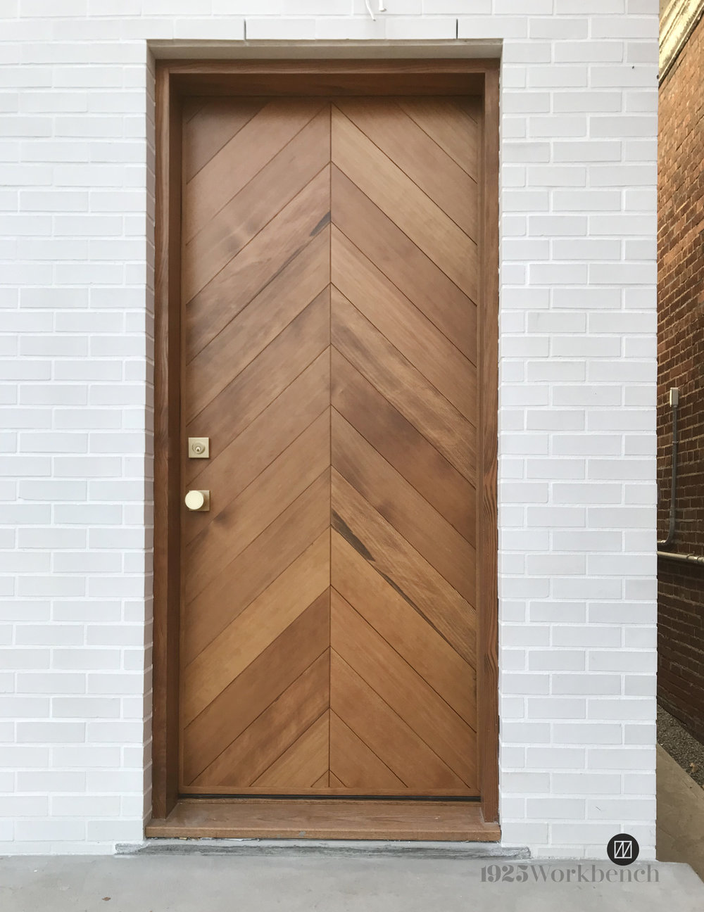 Douglas Fir door in chevron pattern.