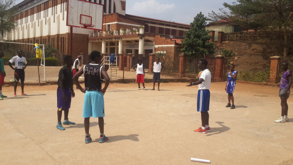 Coach Ezeckiel working on passing with the elite players in Bukavu