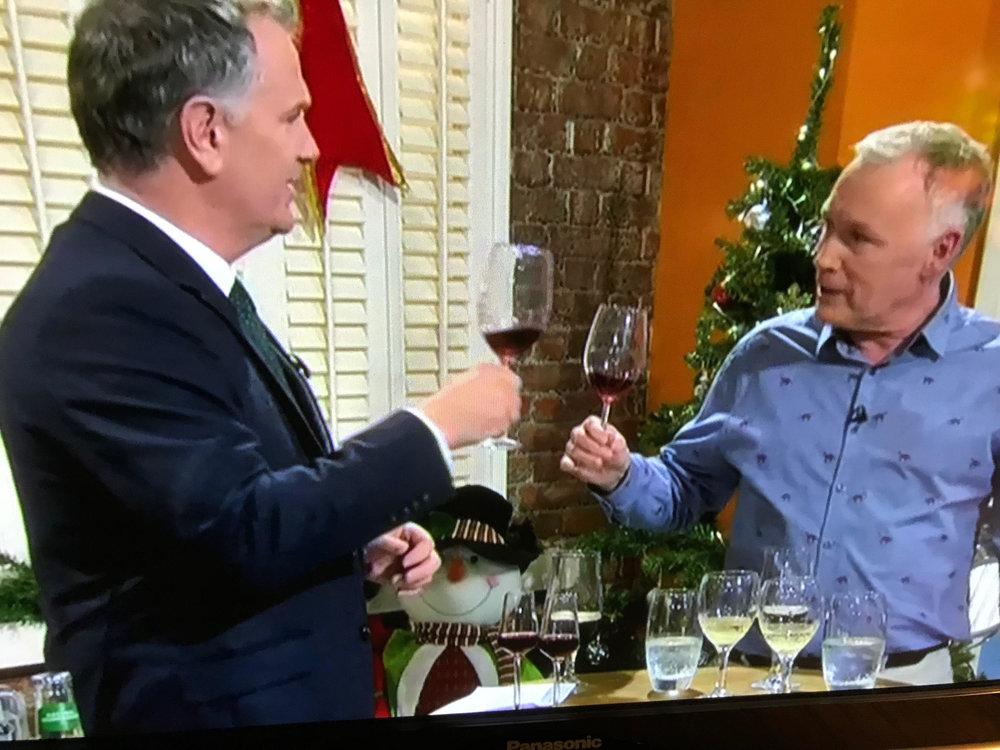 John Wilson tasting our raspberry wine with Daithi