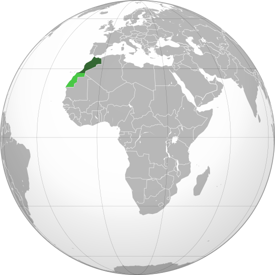 A refresher on the location of Morocco for those who aren't geography nerds. The solar complex is being constructed in the central portion of the dark green part. The light green part is the disputed Western Sahara territory.