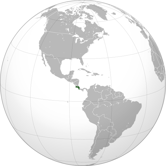 The location of Costa Rica for those who need a reminder. It is bordered by Panama and Nicaragua.