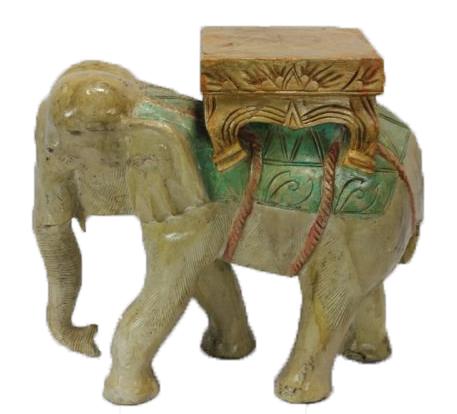 CARVED WOOD VINTAGE ELEPHANT TABLE
