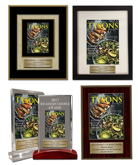 Shown Above: Examples of branded recognition products featuring our museum-quality wood plaques, archival custom framing, desktop acrylic and optical crystal displays.