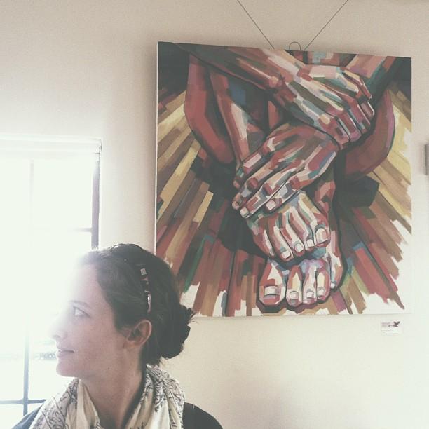 Artist Sheila Dunn at Sparrow show