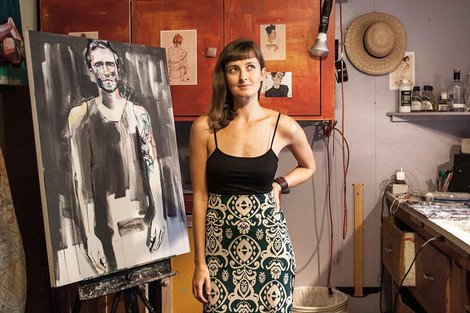 Artist Sheila Dunn in her studio