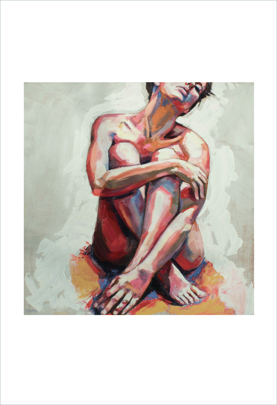 Nude in White, fine art print of original oil painting $45