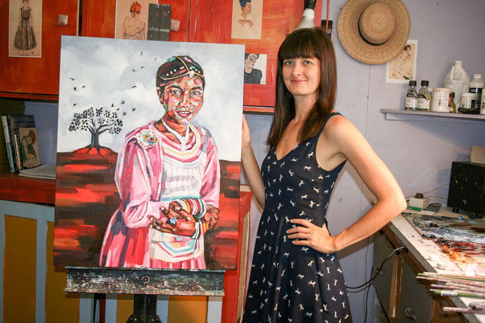 "Painter Sheila Dunn with ""Bulbul"""
