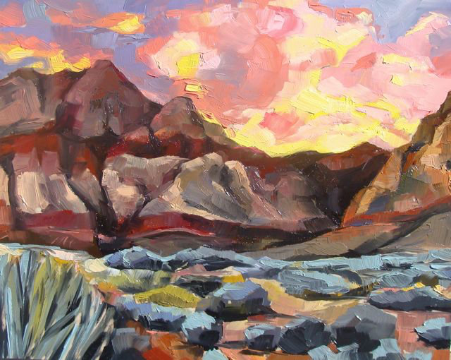 Red Rocks, fine art print of original oil painting
