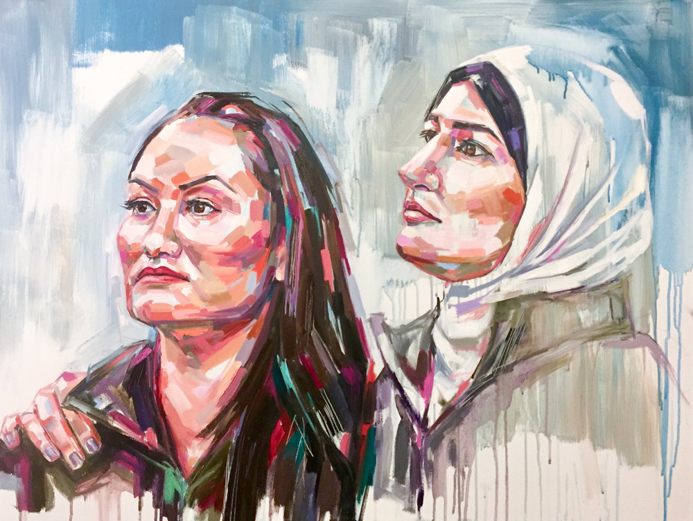 Carmen Perez & Linda Sarsour Oil on canvas 30 x 40 inches $3500 8.5 x 11 inch print - $25 13 x 19 inch print - $45