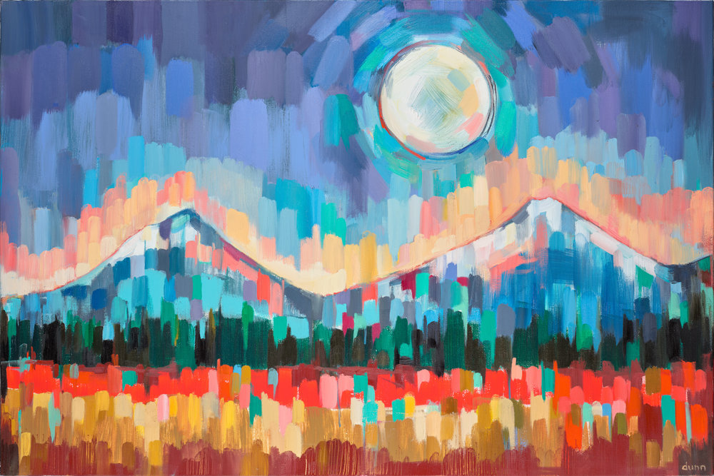 Cascade Moon Oil on canvas 24 x 36 inches Original sold 8.5 x 11 inch print - $25 13 x 19 inch print - $45