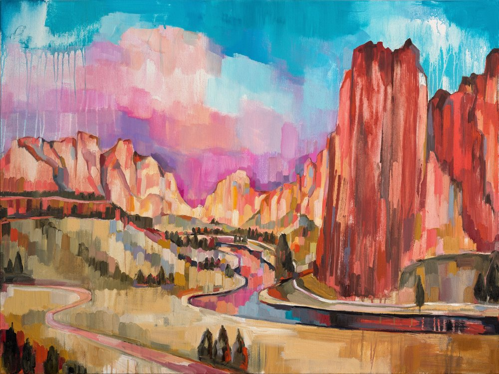 SMITH ROCK, oil on canvas, 30 x 40 inches -10% of print sales to the Conservation Alliance