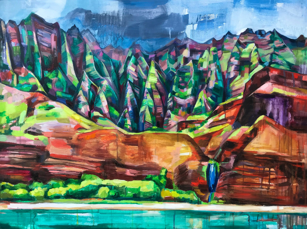 NAPALI COAST, oil on canvas, 30 x 40 inches -10% of print sales to the Conservation Alliance