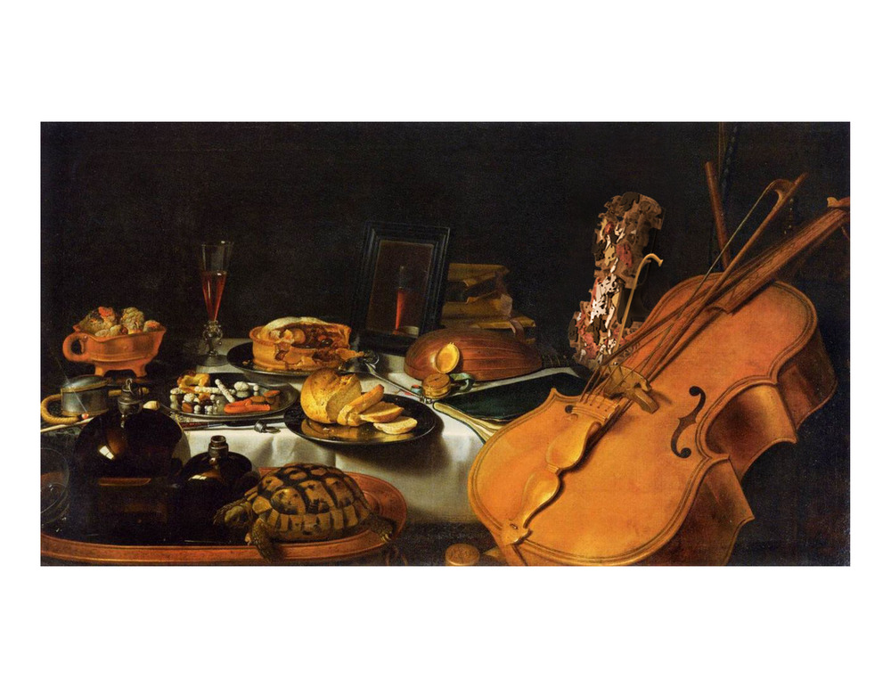 "Alternation of the ""Still life with Musical Instruments (1623)"" by Pieter Claesz (1597–1660)"