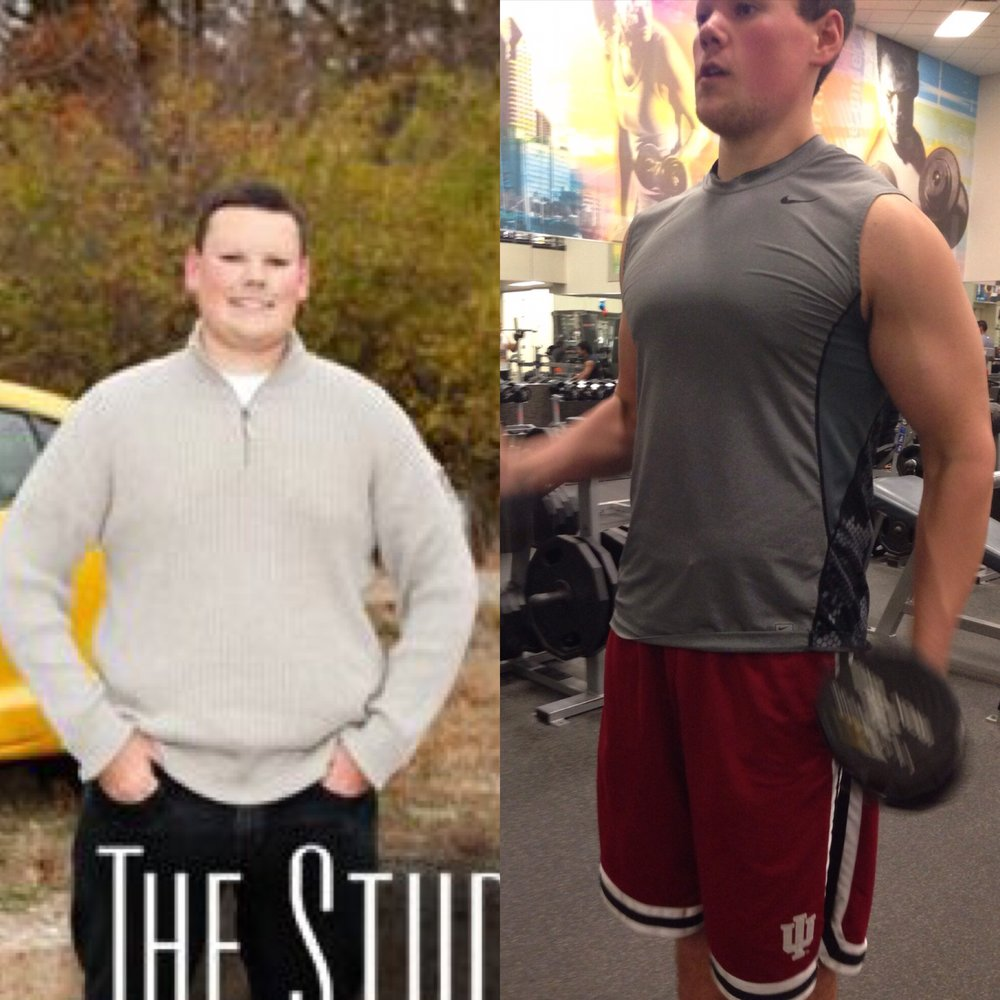 On the left, 270lbs wearing all baggy clothing for my senior photos. On the right, 13 weeks later 175 lbs happy and healthy.