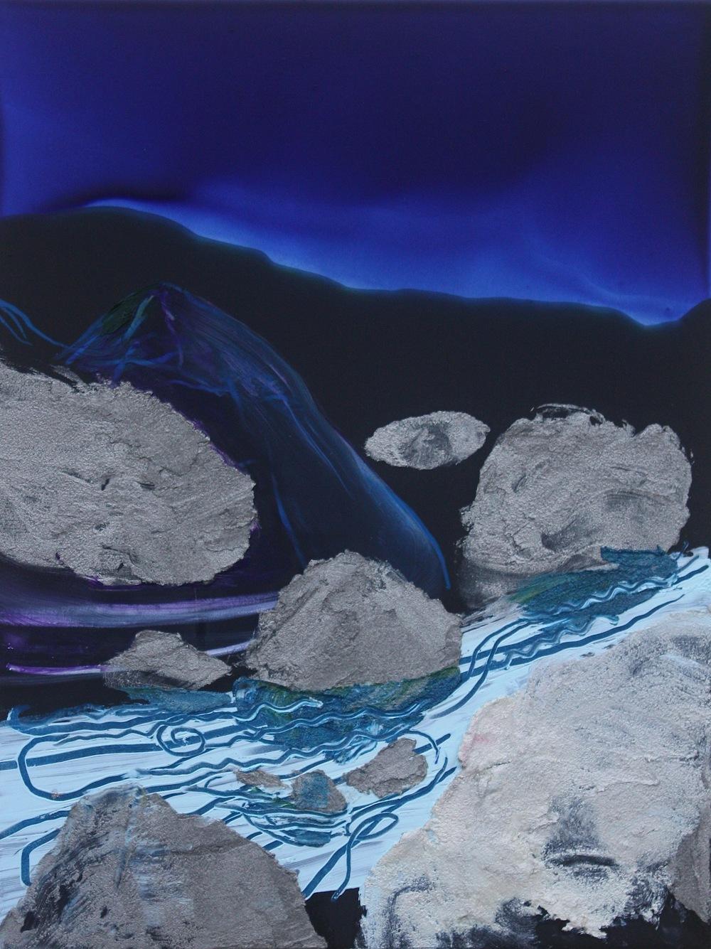 "Urethane, Pigment and Oil on Aluminum  9""x12""  2014"