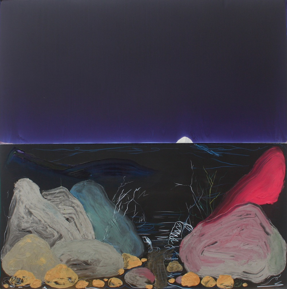 "Urethane, Pigment and Oil on Aluminum  48""x48""  2014"