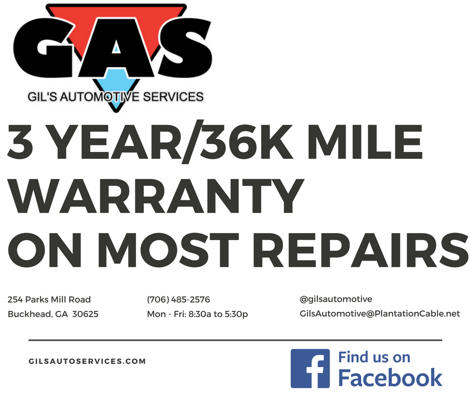 3 year/36k mile Warranty | GilsAutoServices.com