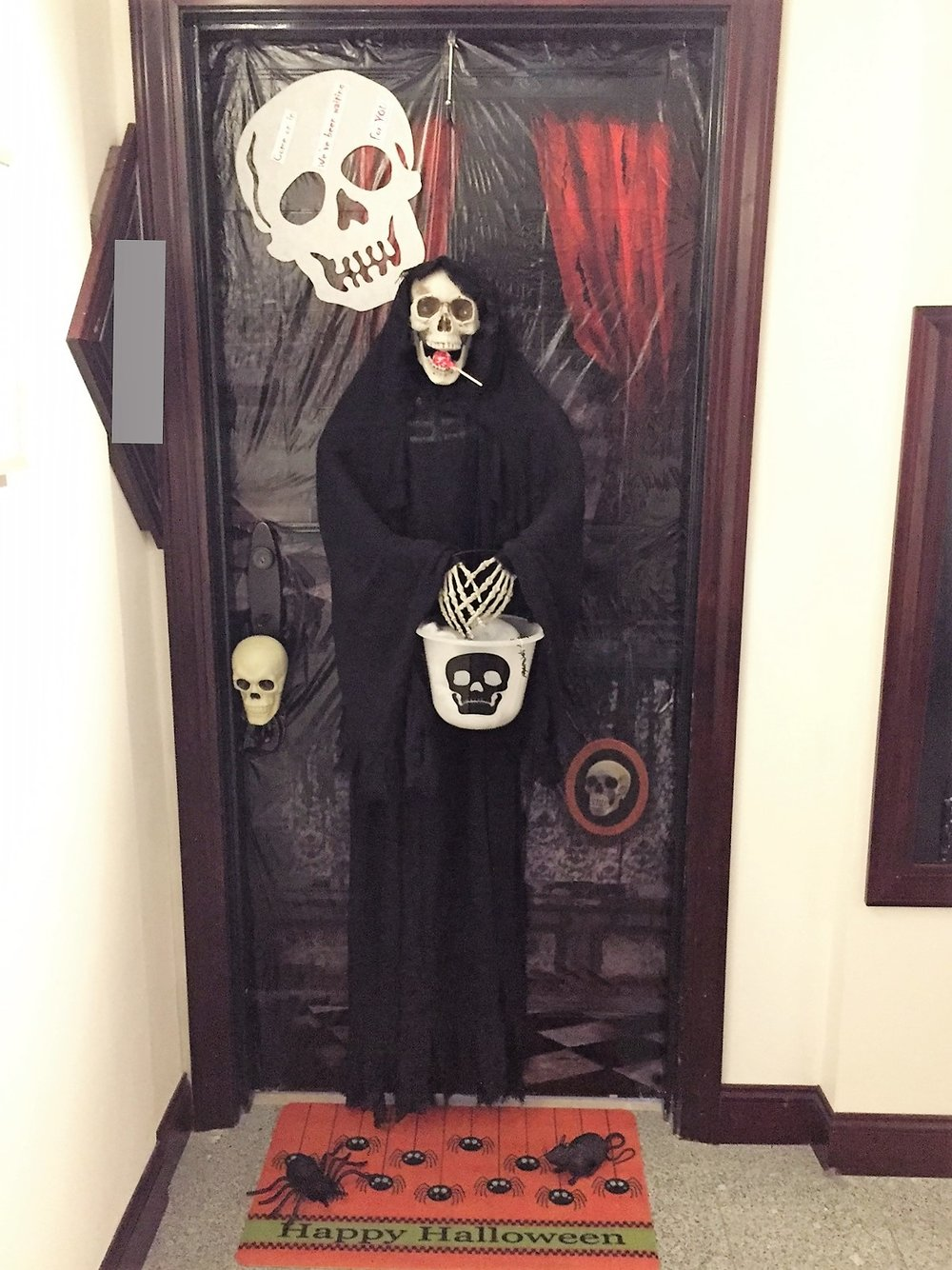 "Entry 1 - John Doe - Trick or Treating Skeleton ""Come on in, We've been waiting for you"""