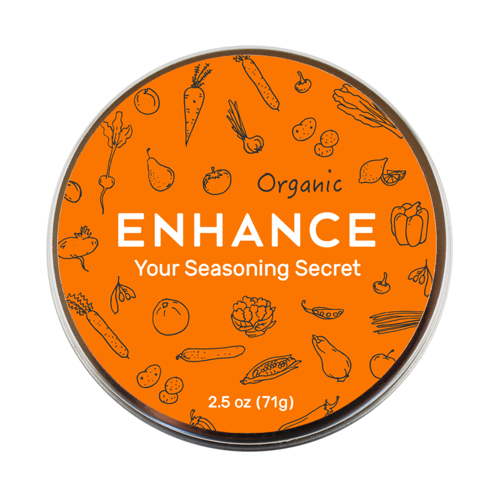 Make delicious food effortlessly. - Meet Enhance, your all-purpose white seasoning made of ultra-light crystalline salt, herbs and spices. Non-Allergenic. Kosher. Organic.