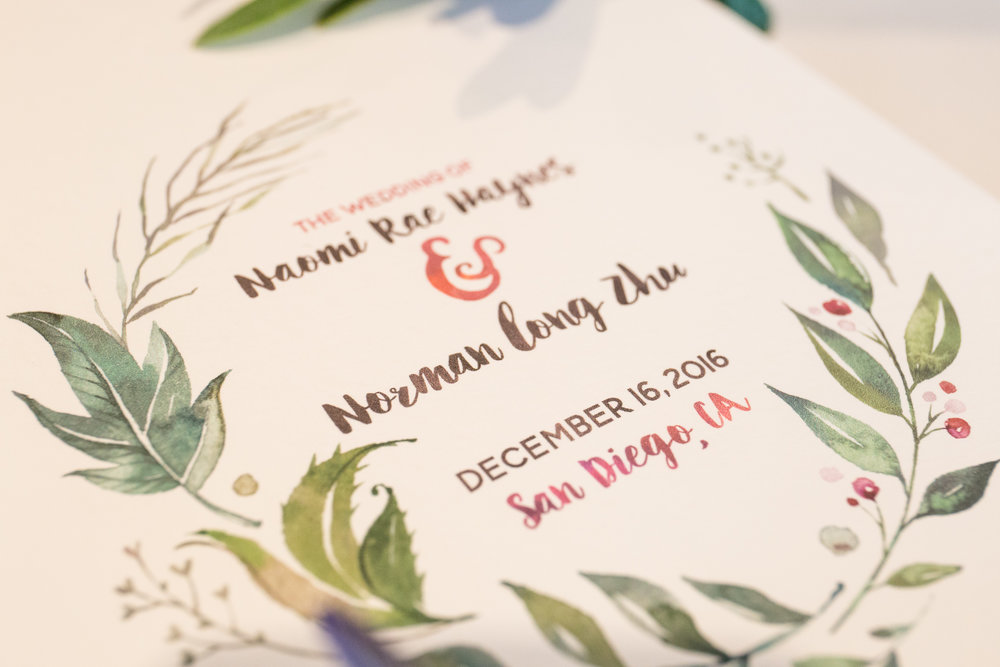 Custom Winter Greenery Wedding Programs  Photography:  Dmitry Rogozhin  Wedding Planning & Design:  Love Marks the Spot  Venue:  Coronado Community Center