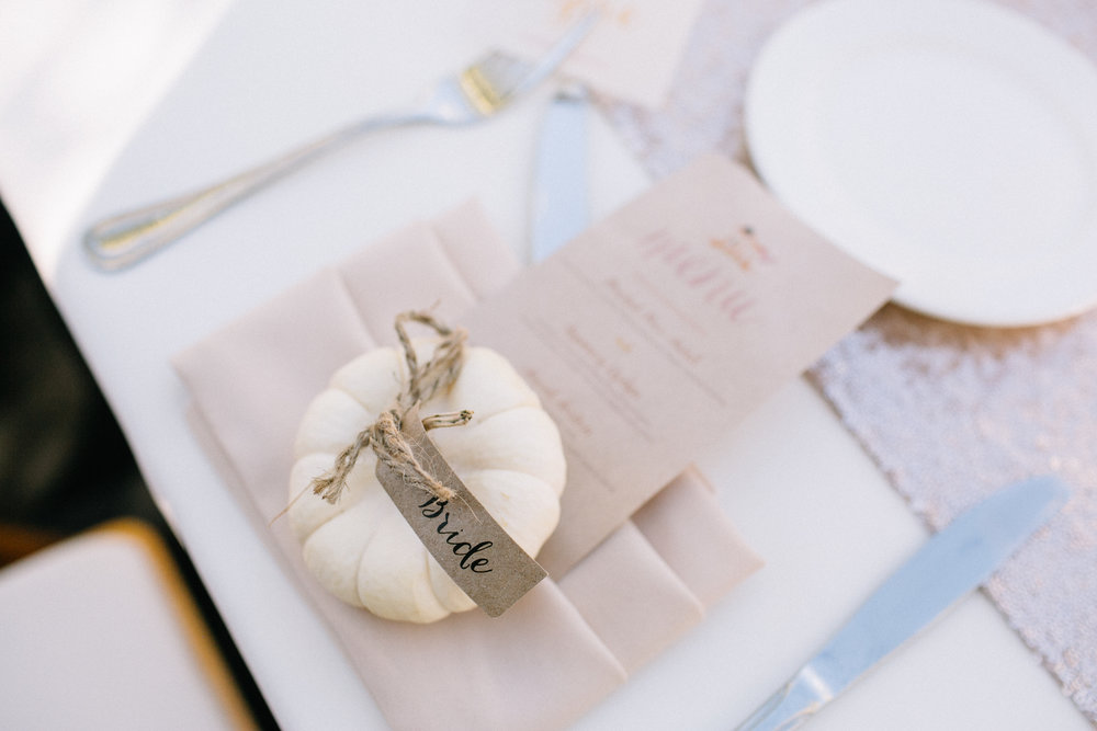 Mini Pumpkin Place Cards  Photography:  Allie Lindsey Photography  Wedding Planning & Design:  Love Marks the Spot  Venue:  Temecula Creek Inn  Floral Design:  Carla Kayes Floral Design