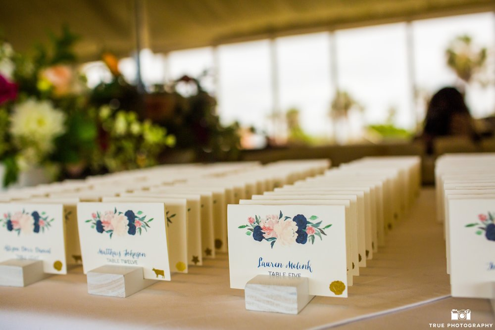 Custom Escort Cards  Photography:  True Photography  Wedding Planning & Design:  Love Marks the Spot  Venue:  La Valencia Hotel