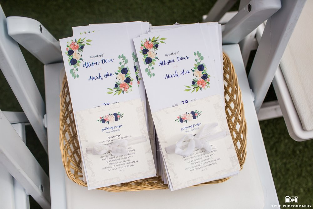 Custom Programs with Prayer Cards  Photography:  True Photography  Wedding Planning & Design:  Love Marks the Spot  Venue:  La Valencia Hotel