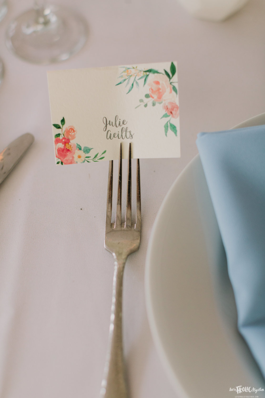 Custom May Flowers Place Card Design  Photography:  Let's Frolic Together  Wedding Planning & Design:  Love Marks the Spot  Venue:  The Darlington House
