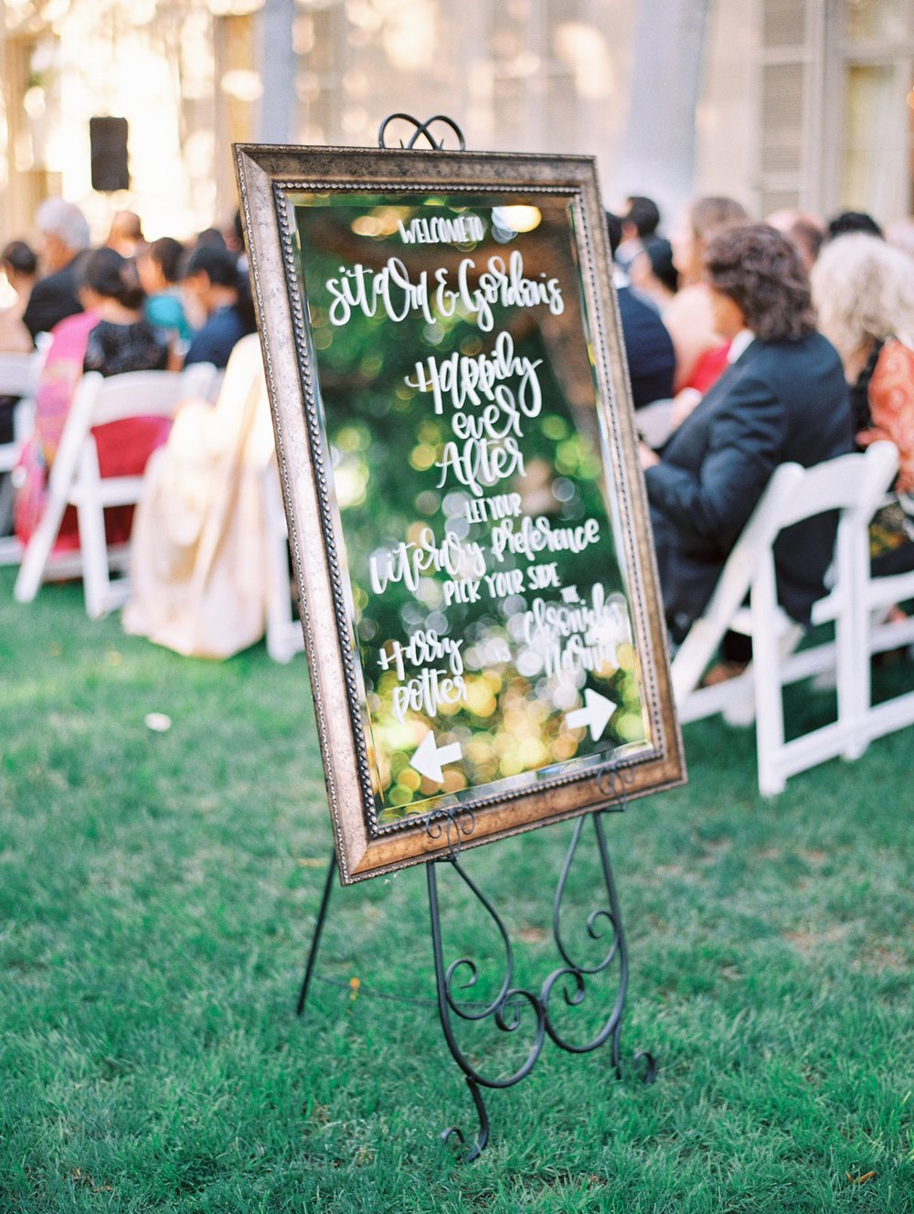 Mirror Welcome Sign Calligraphy  Photography:  Catherine Anne Photography  Wedding Planning & Design:  A Beyoutiful Fête  Venue:  The Meridian House