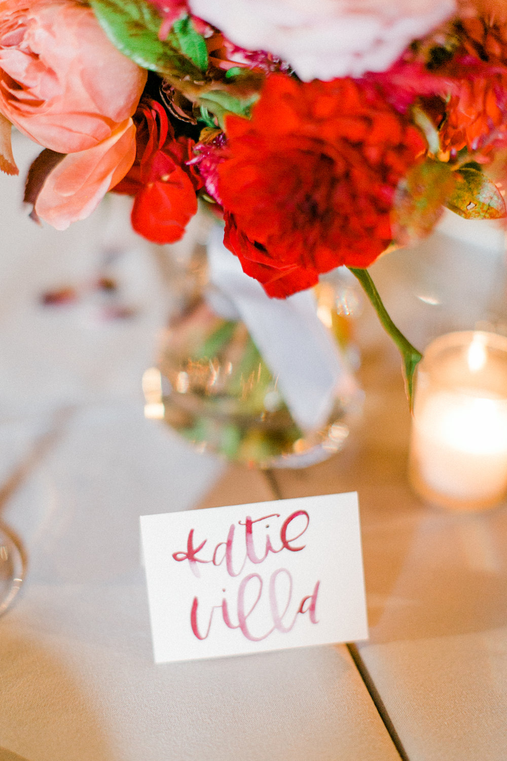 Blush & Burgundy Watercolor Place Cards  Photography:  Vanessa Marie Photography