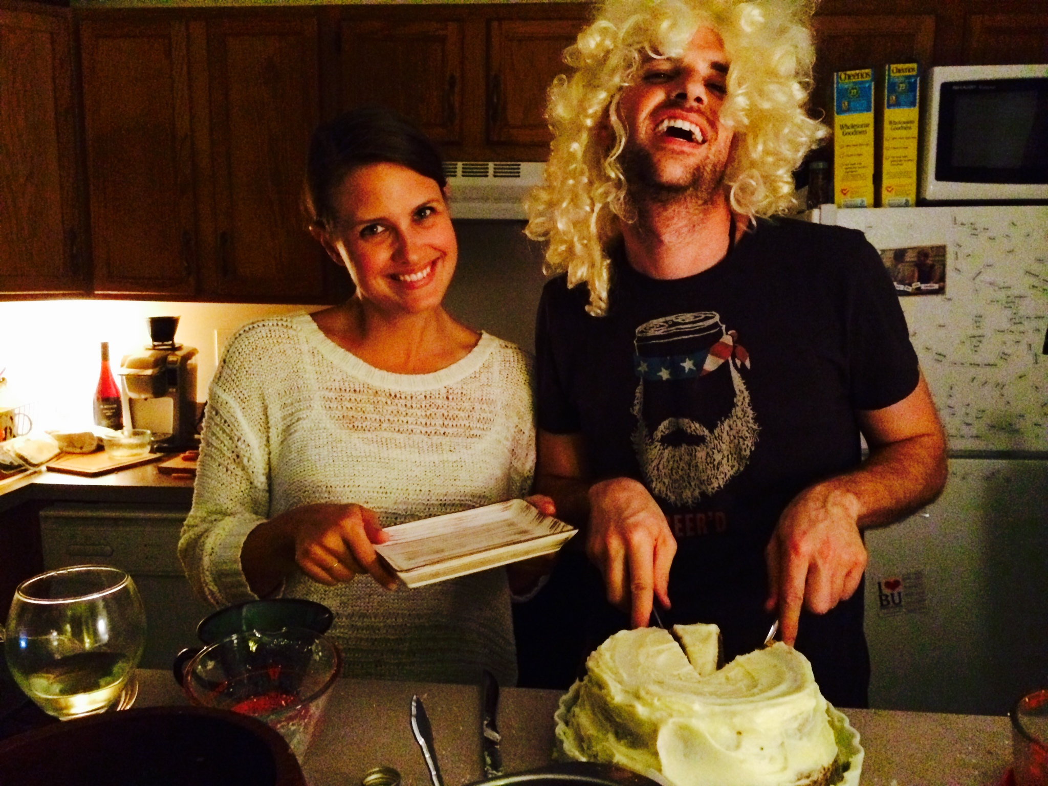 Blondes and brunettes can enjoy this one together! Lauren and her boyfriend, Tom (yes, it's a wig) serving up their gluten free cake!
