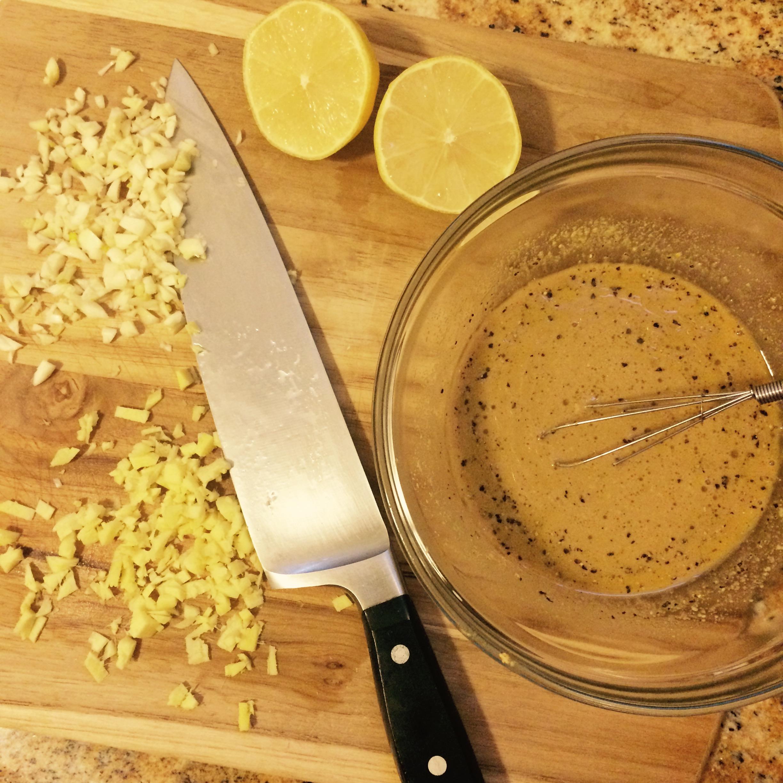 Marinade: garlic, ginger, lemon, ponzu sauce, organic Dijon mustard, salt & pepper.