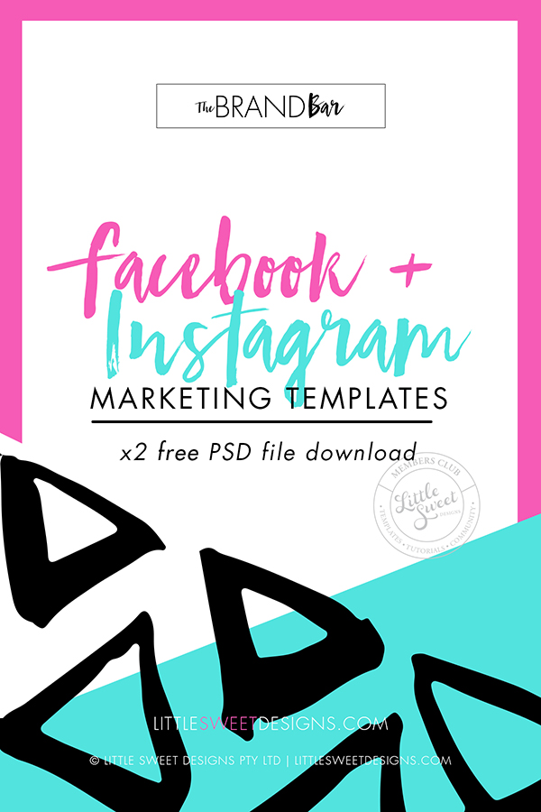 SET OF 2 PHOTOSHOP MARKETING FILES .PSD (LAYERED PHOTOSHOP FILES)      - FACEBOOK TIMELINE COVER + - INSTAGRAM SQUARE.      Marketing Templates for you to use in your biz. Download and put them to work today!  Don't forget to tag @littlesweetdesigns #thebrandbar when you show them off.   Download & Start Promoting Today!