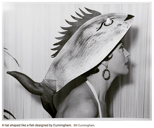 Morning #fishpiration. Hats by the legendary NYT fashion documentarian Bill Cunningham.